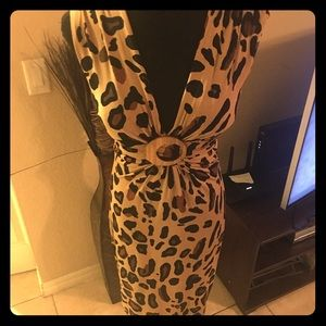 CACHE - SUPER CUTE Leopard Print Dress - Size 2